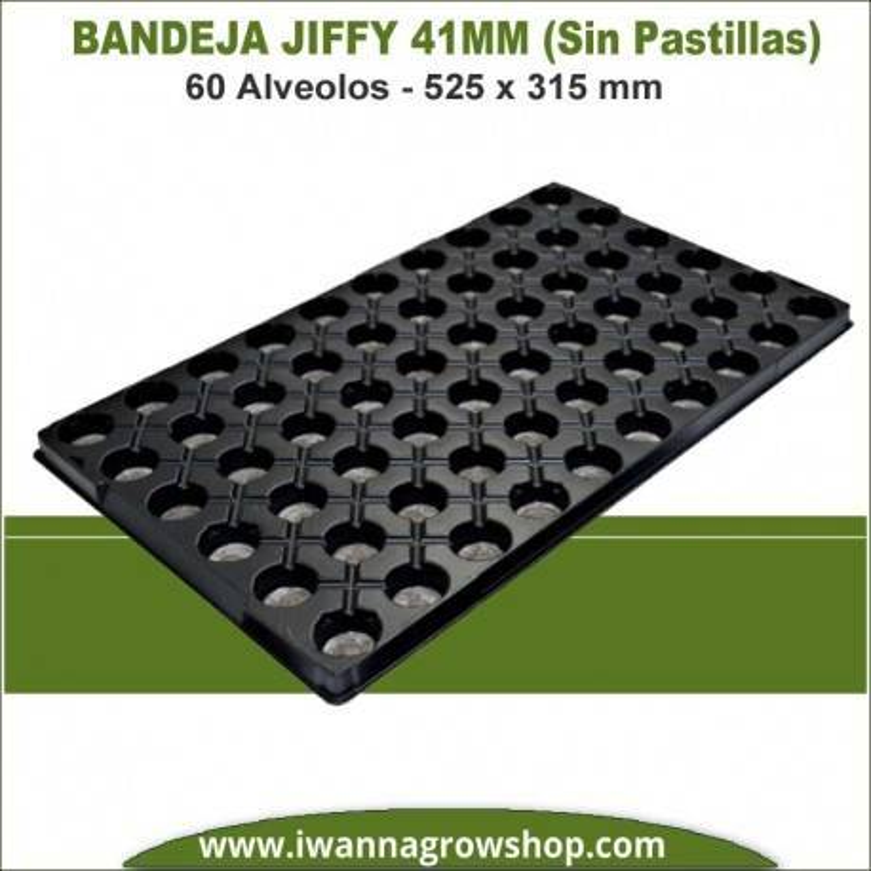 Bandeja Jiffy 41mm 60 Alveolos (Sin pastillas)