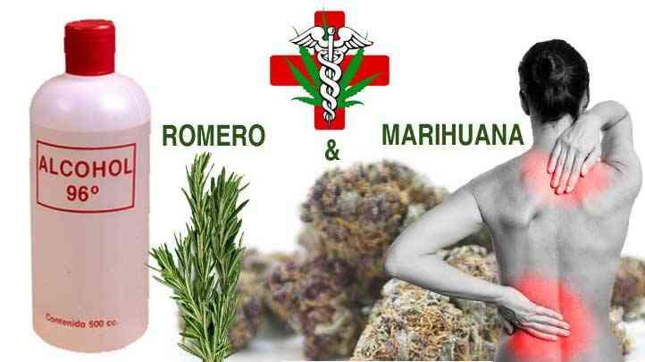 Alcohol de marihuana y romero