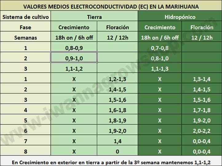 Valores medios de la Electroconductividad en la marihuana